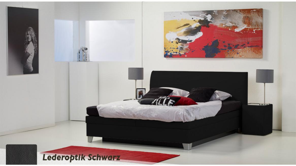 wasserbett luxus box pro lederoptik schwarz boxspring-look