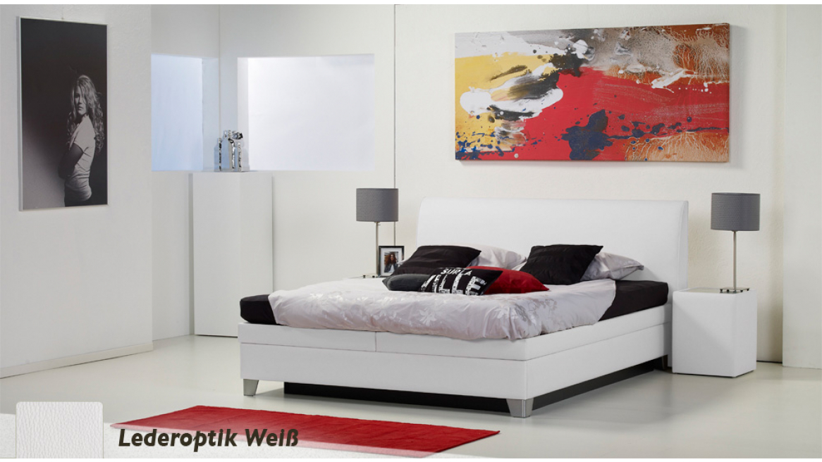 wasserbett luxus box pro lederoptik weiß boxspring-look
