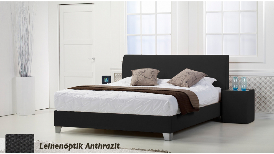 wasserbett basic box pro leinenoptik anthrazit boxspring-look
