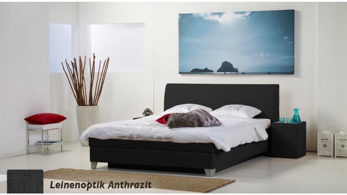 wasserbett luxus box pro leinenoptik anthrazit boxspring-look