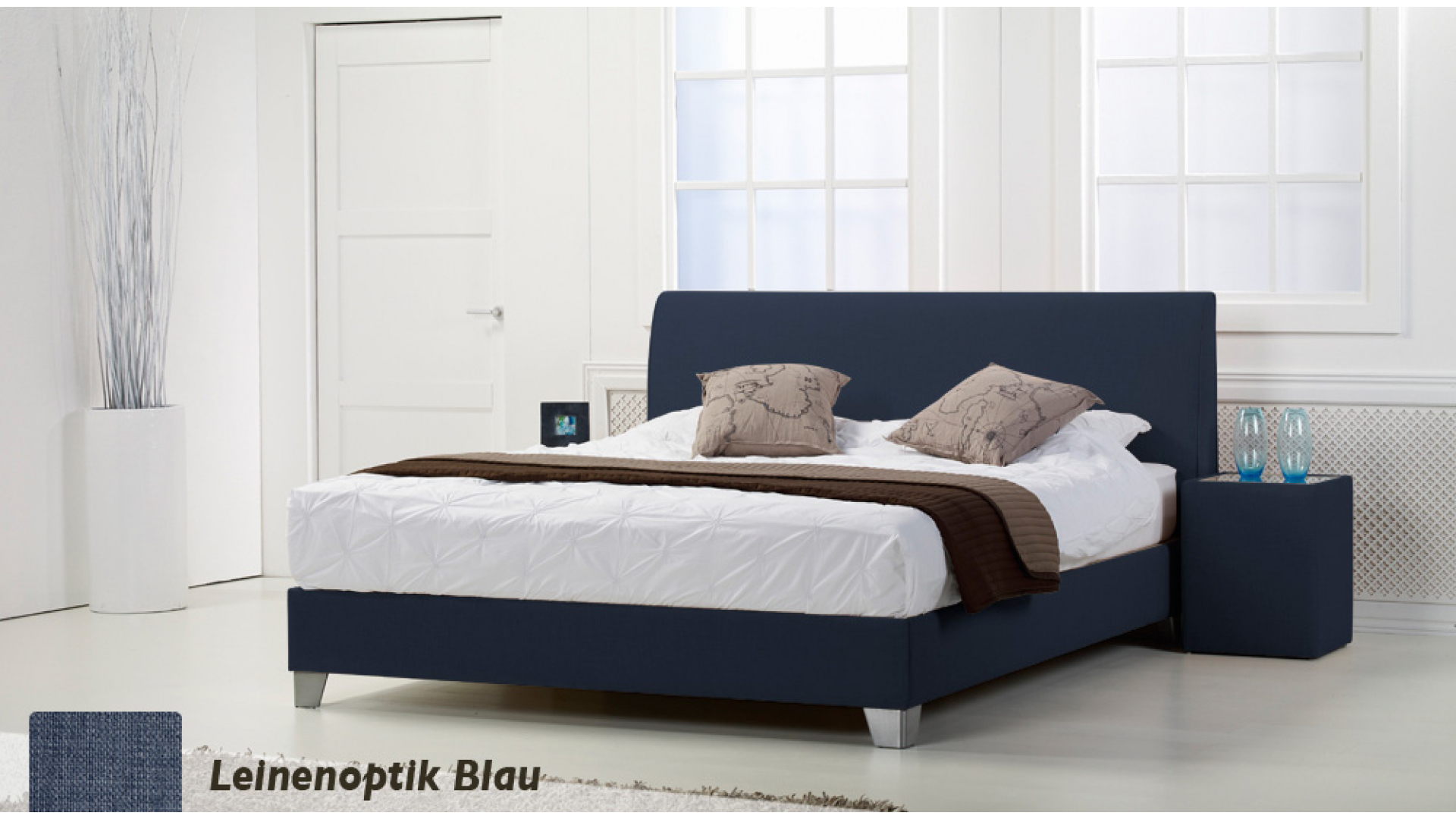 wasserbett basic box pro leinenoptik blau boxspring-look